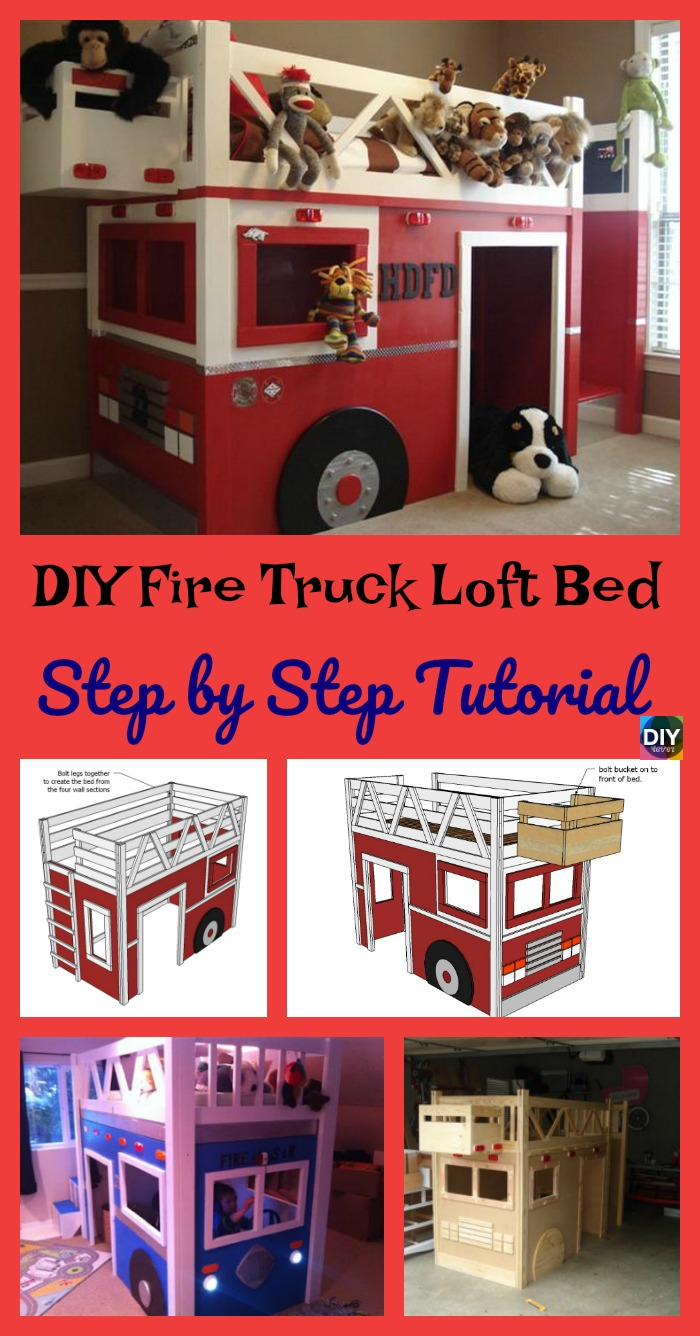 diy4ever- DIY Fire Truck Loft Bed - Step by Step Tutorial