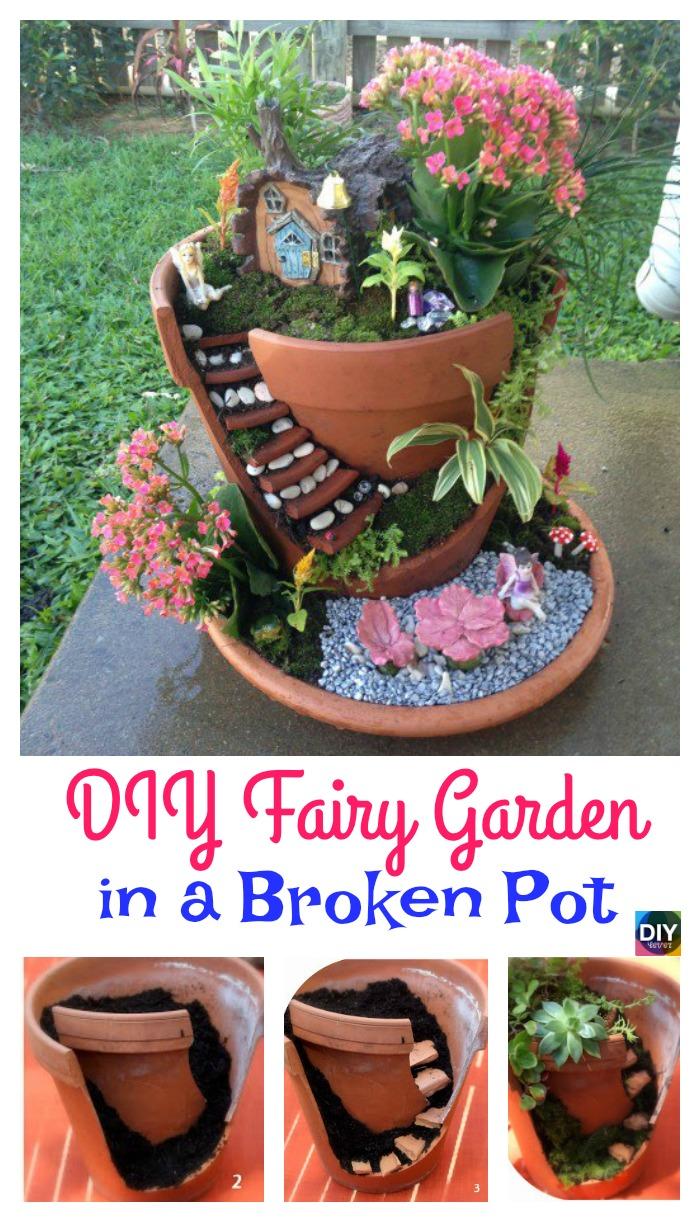 diy4ever- Delightful DIY Fairy Garden in a Broken Pot