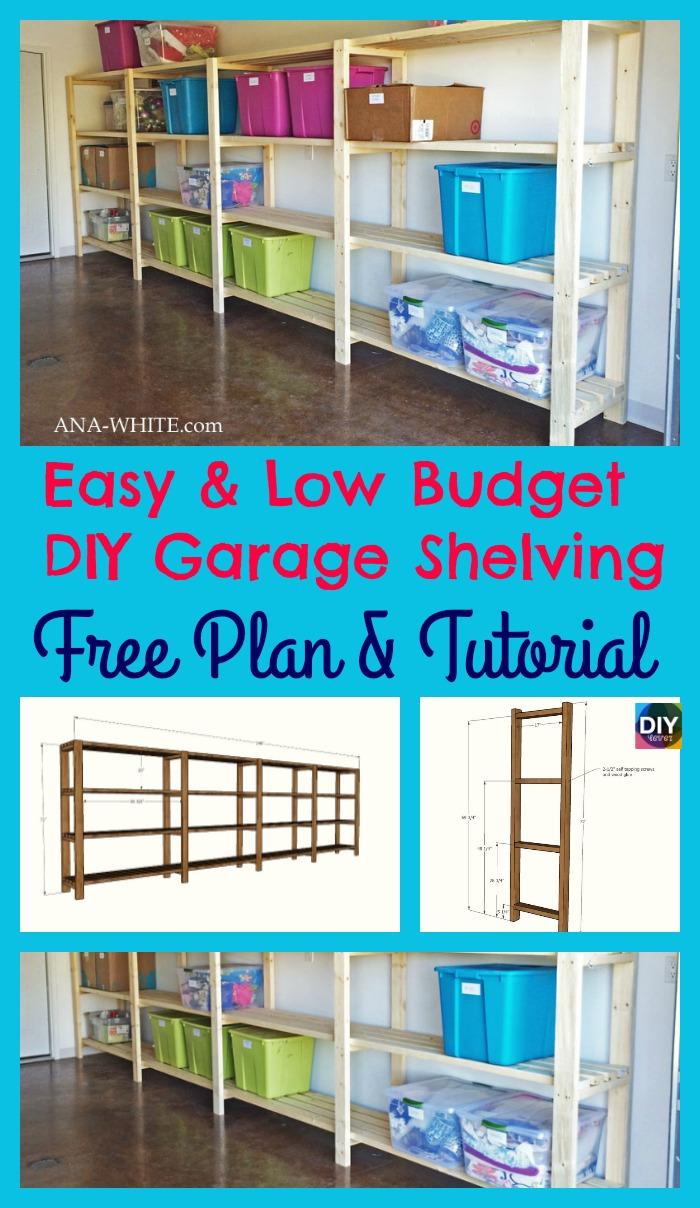 diy4ever- Easy & Low Budget DIY Garage Shelving - Free Plan