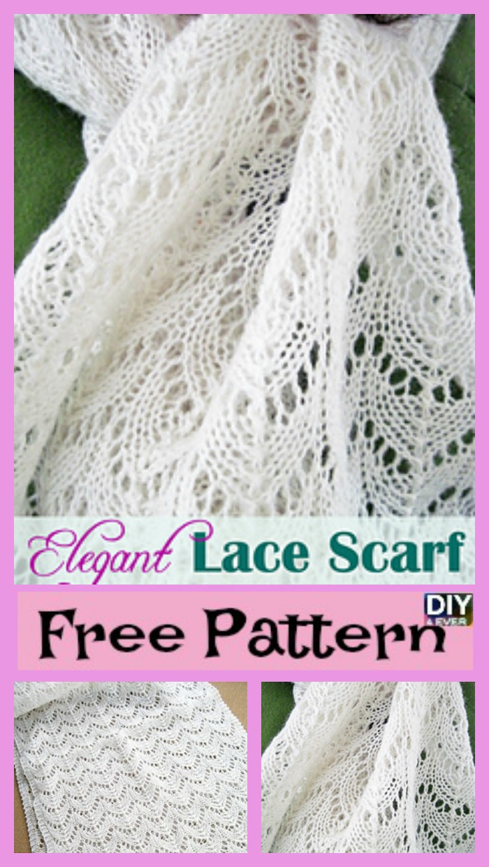 Elegant Knitted Lace Scarf - Free Pattern - DIY 4 EVER