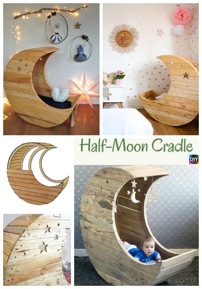 diy4ever- How to Make Moon Shaped DIY Baby Cradle