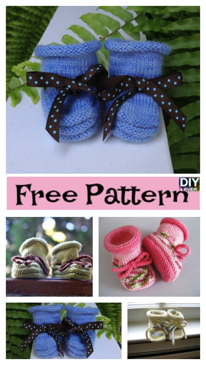 diy4ever-Stay-On Knitted Baby Booties - Free Pattern