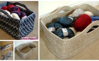 diy4ever- Useful Crochet Rectangle Basket - Free Pattern