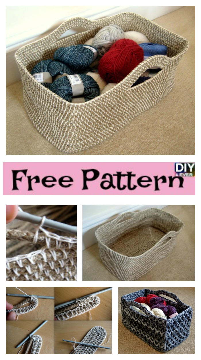 diy4ever- Useful Crochet Rectangle Basket - Free Pattern