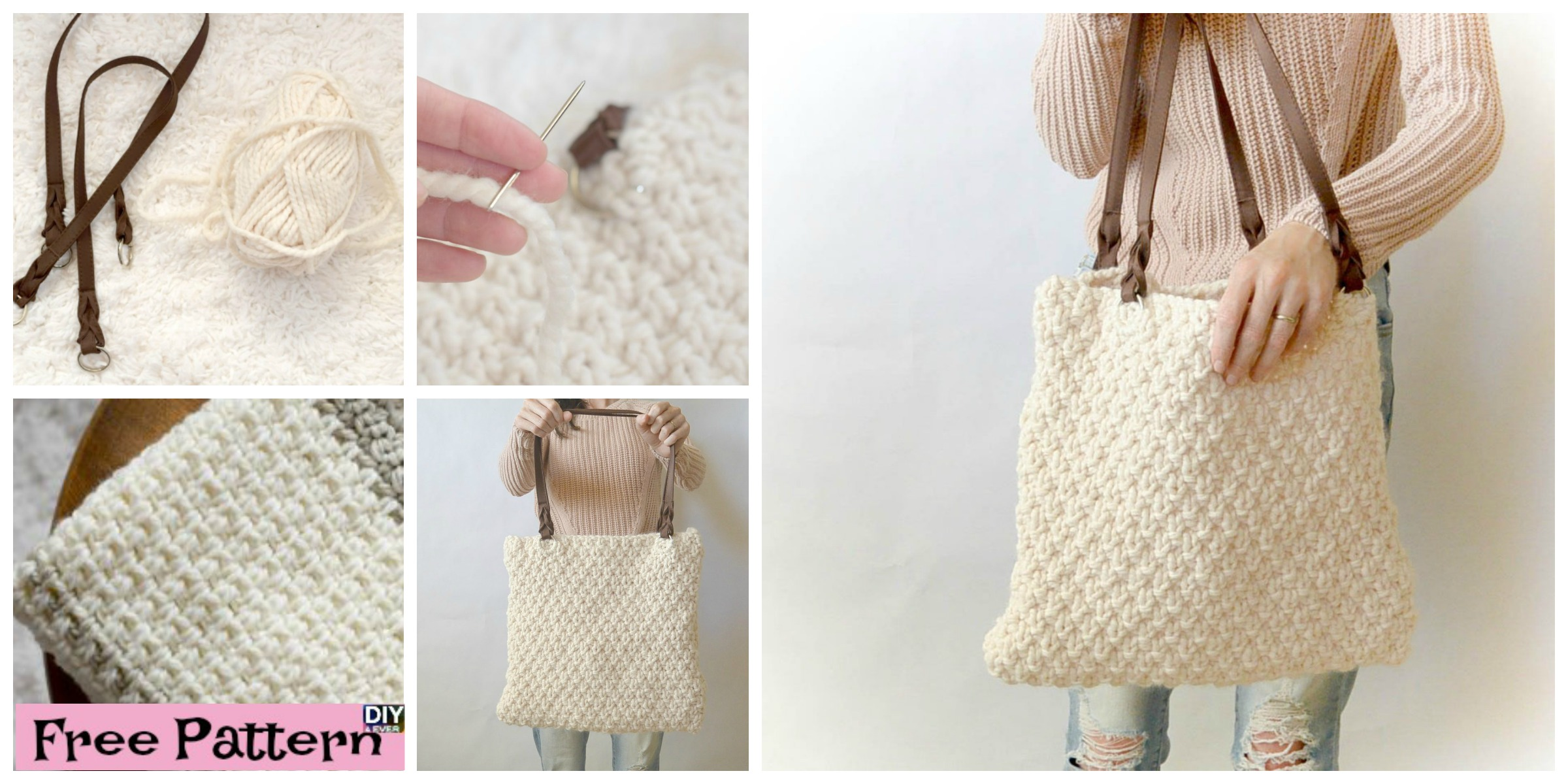 Double Seed Stitch Knit Bag - Free Pattern - DIY 4 EVER