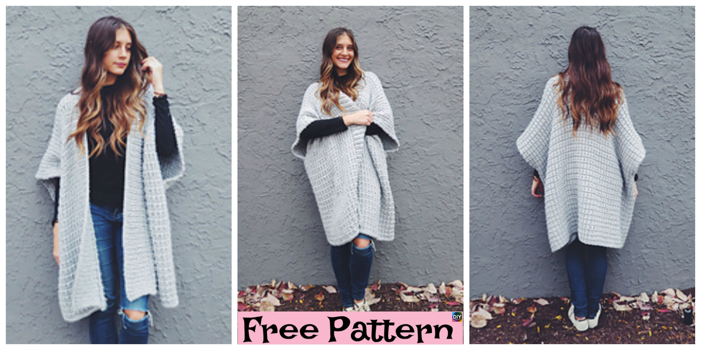 Cloaked in Clouds Knitted Poncho - Free Pattern - DIY 4 EVER