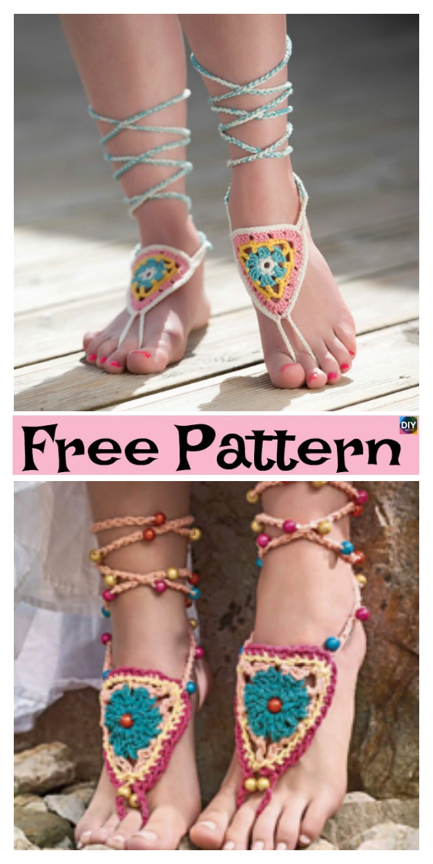 diy4ever-10 Most Unique Crochet Barefoot Sandals - Free Pattern