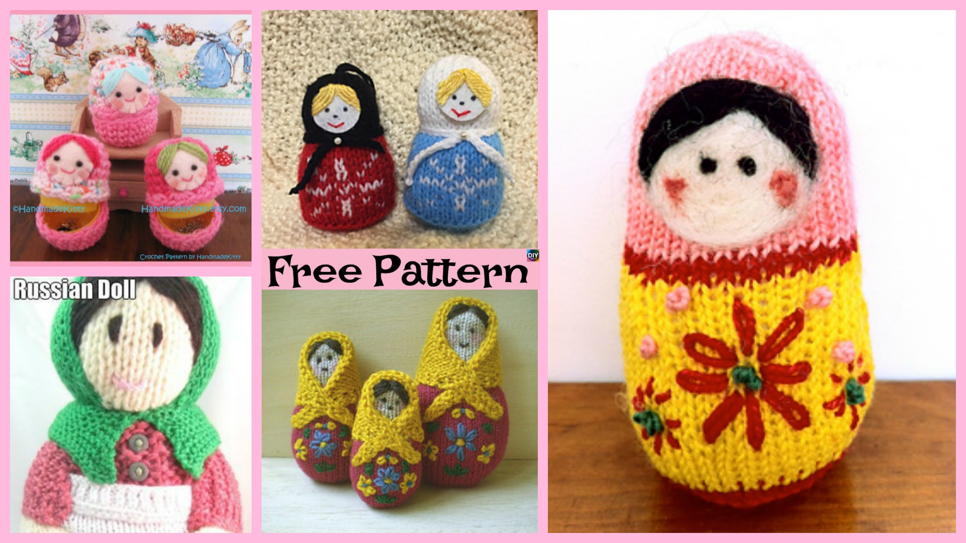 5 Adorable Knit Russian Dolls - Free Patterns - DIY 4 EVER