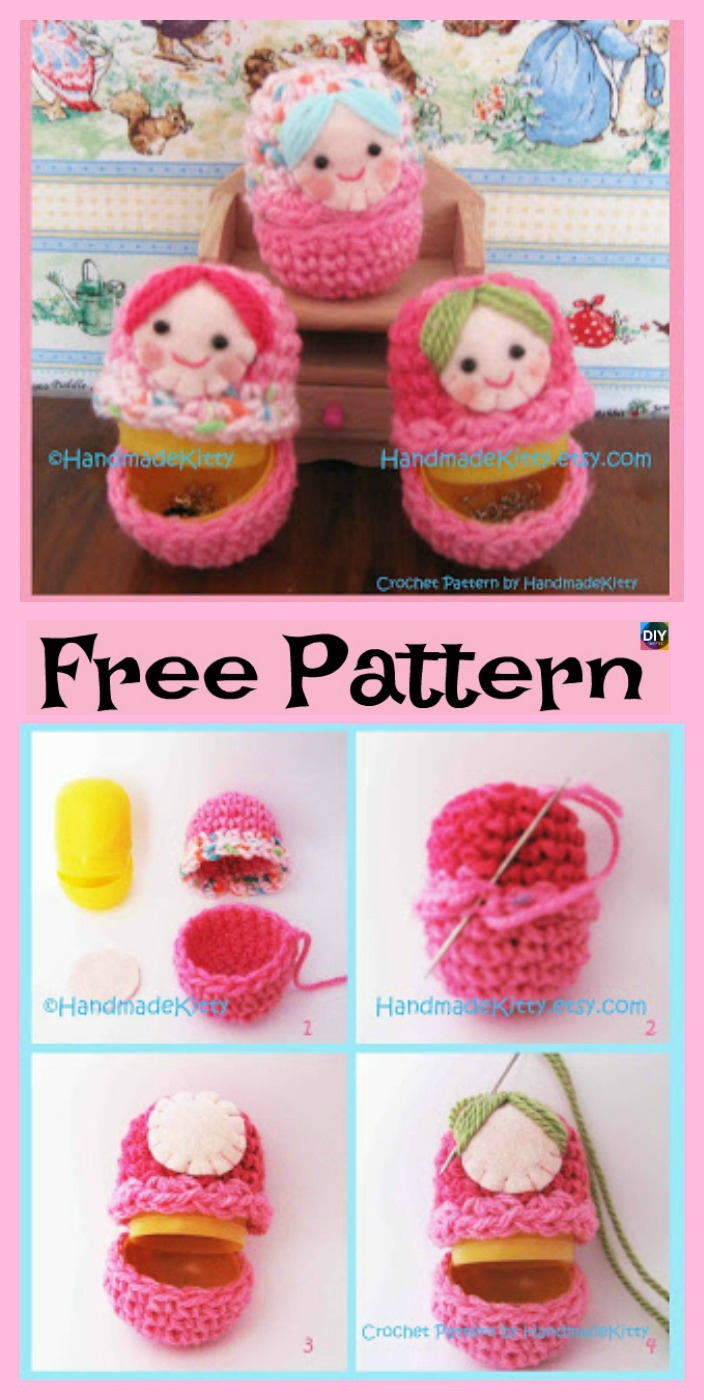 diy4ever- 5 Adorable Knit Russian Dolls - Free Patterns
