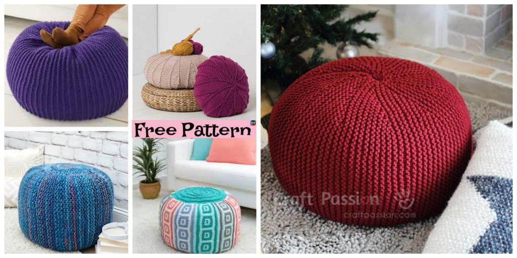 6 Beautiful Knitting Pouf Free Patterns - DIY 4 EVER