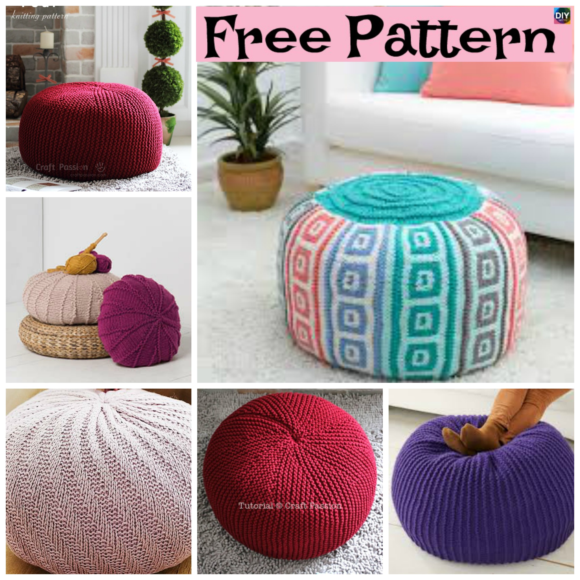6 Beautiful Knitting Pouf Free Patterns - DIY 4 EVER