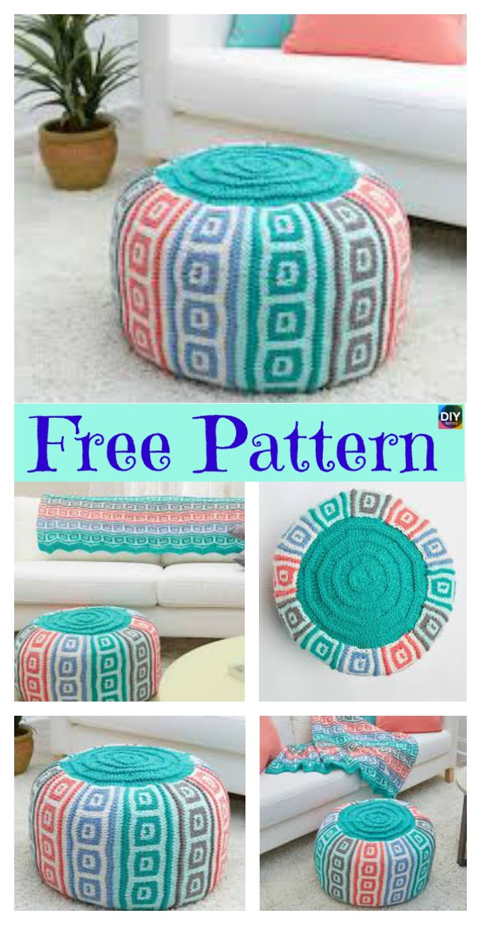 diy4ever- 6 Beautiful Knitting Pouf Free Patterns