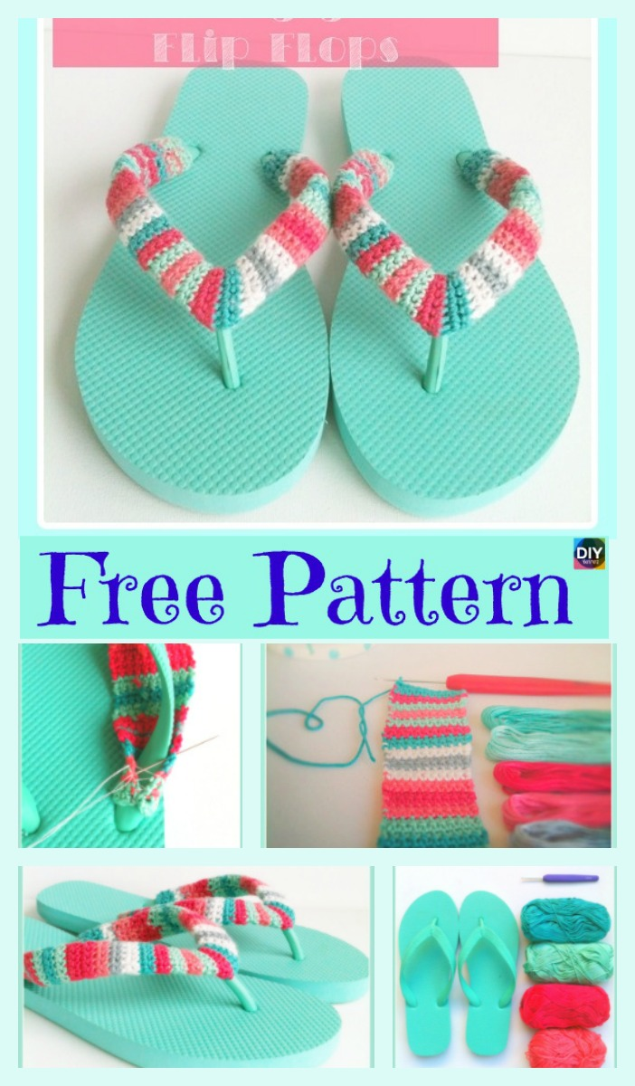 diy4ever- 8 Awesome Flip Flop Crochet Slippers - Free Patterns