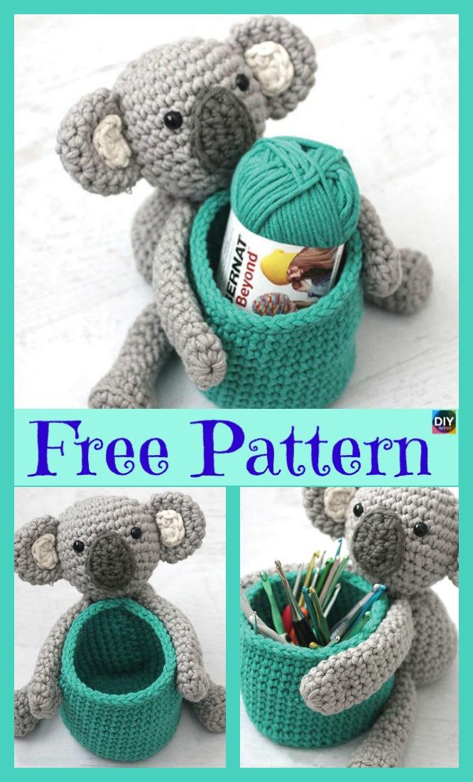 diy4ever- Adorable Crochet Koala Basket - Free Pattern