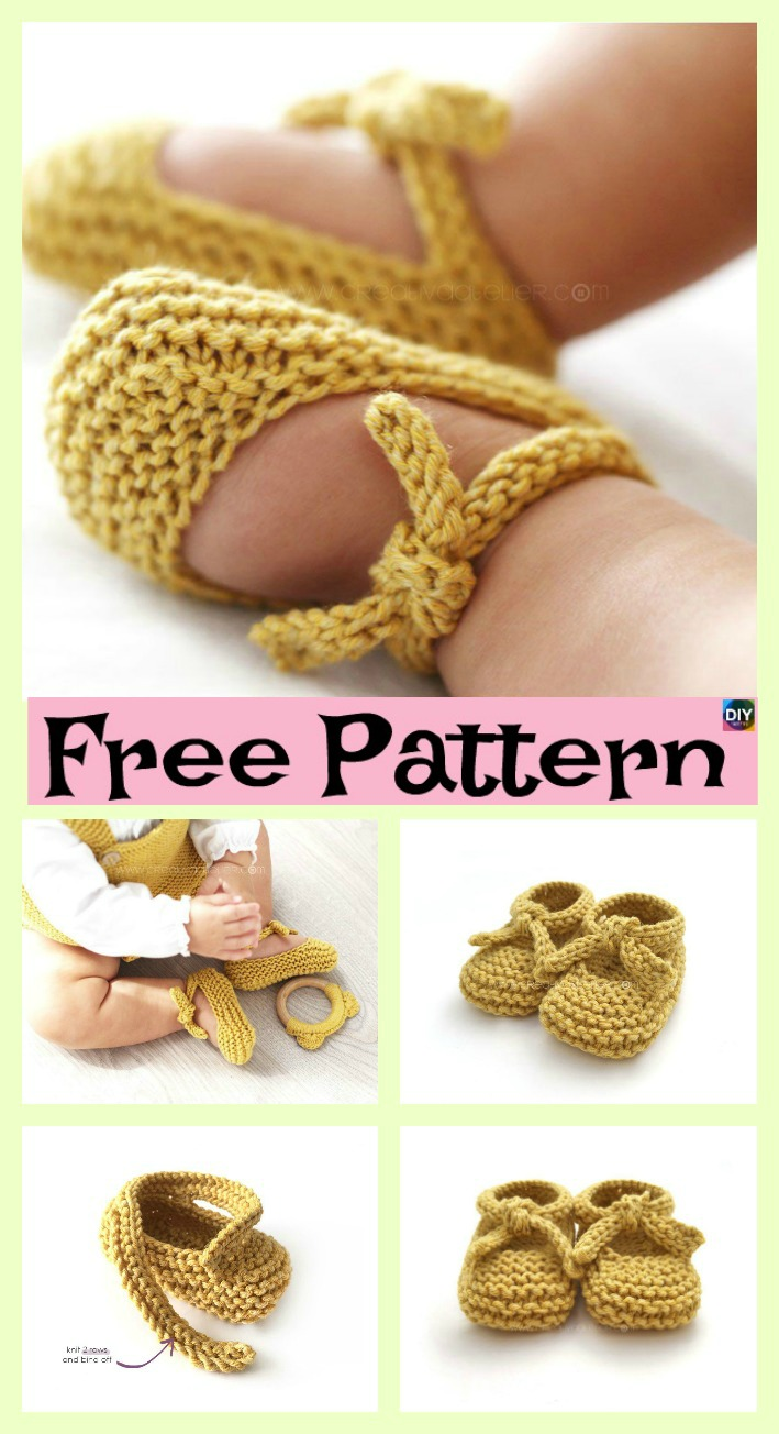 diy4ever-Adorable Knitted Baby Ballerina Booties - Free Patterns