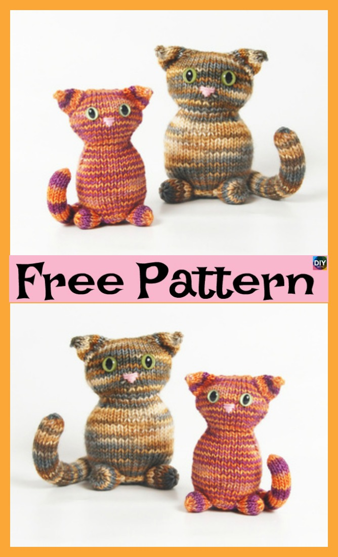 diy4ever- Adorable Knitted Kitty - Free Patter