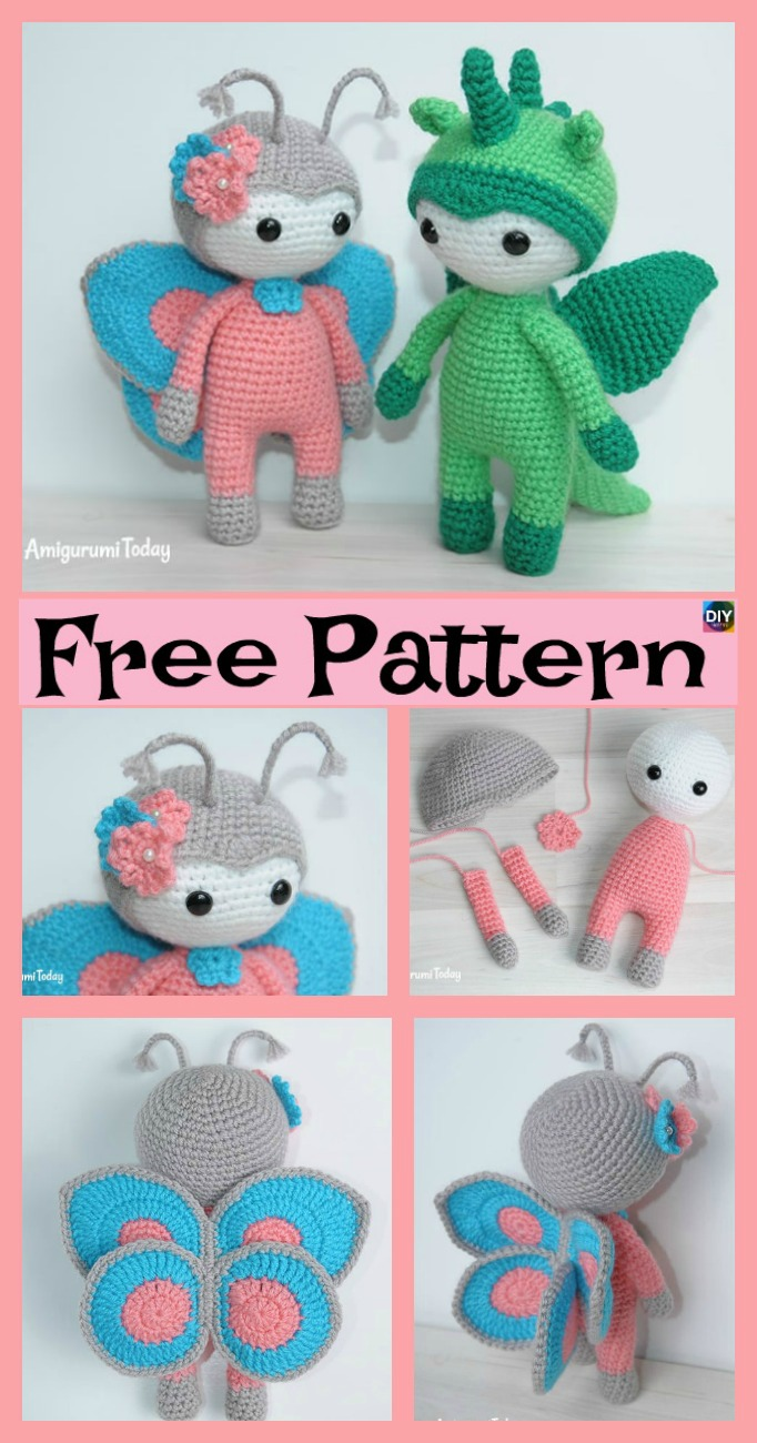 diy4ever-Amigurumi Crocheted Butterfly Doll - Free Pattern