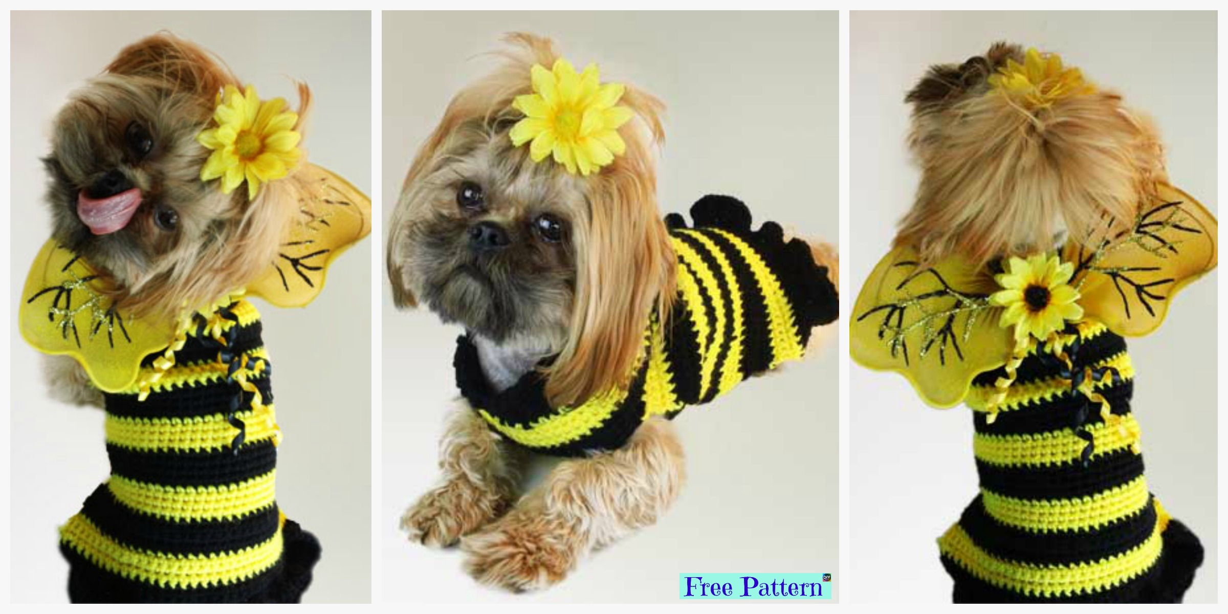 Bumble Bee Crochet Dog Sweater - Free Pattern - DIY 4 EVER
