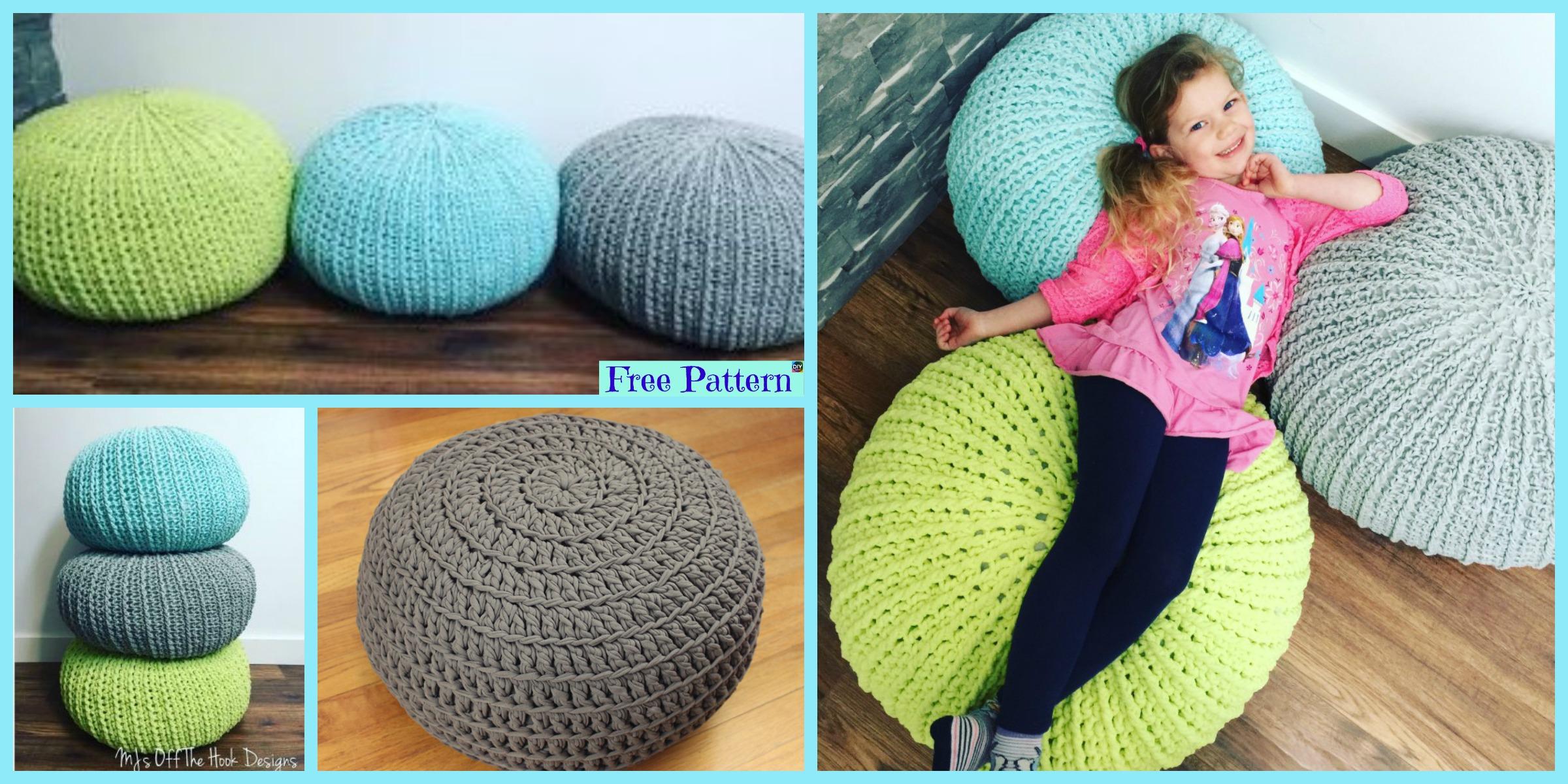 diy4ever- Cozy Crochet Floor Pouf - Free Pattern