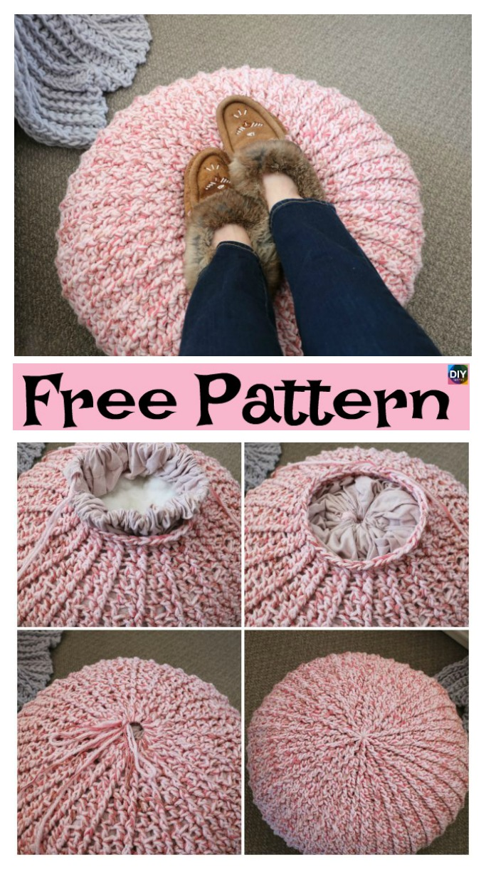diy4ever- Cozy Crochet Floor Pouf - Free Pattern