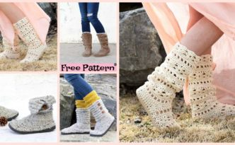 diy4ever-Crochet Boots with Soles - Free Patterns