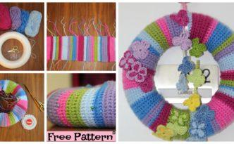 diy4ever-Crochet Butterfly Wreath - Free Pattern