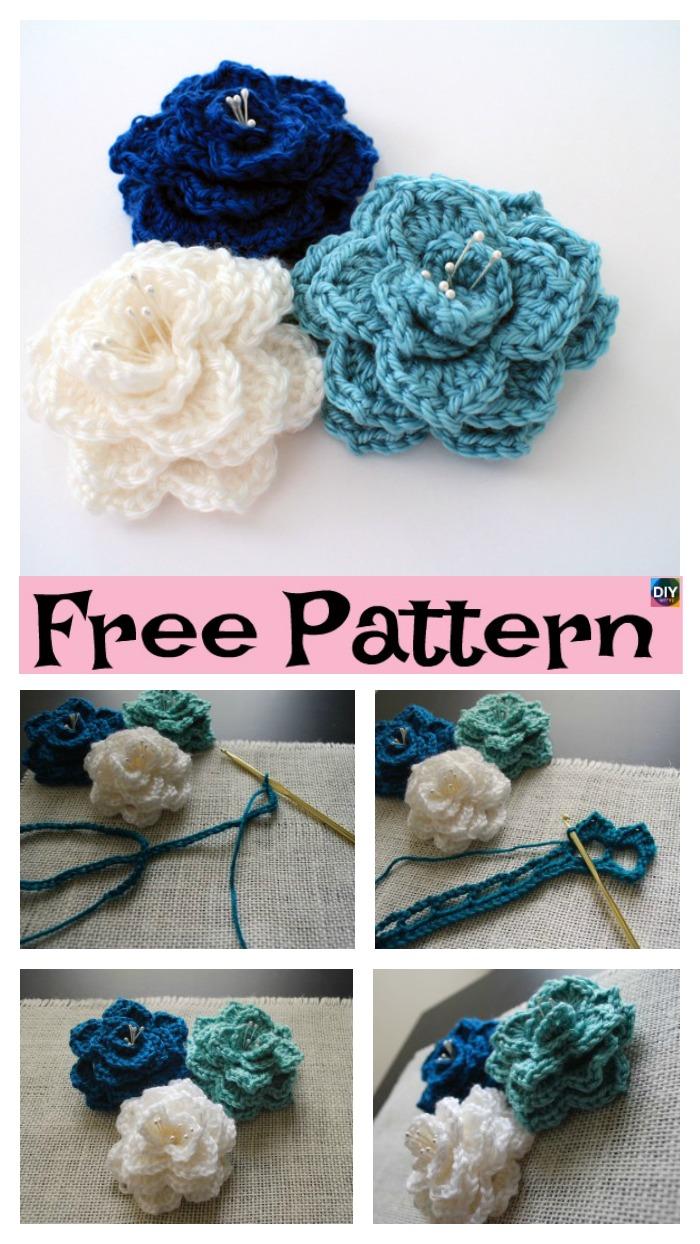 Crochet Crocodile Stitch Flower - Free Pattern - DIY 4 EVER