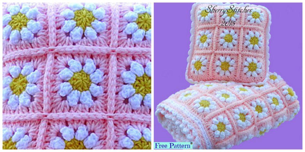 Crochet Daisy Flower Blanket Free Pattern Diy 4 Ever