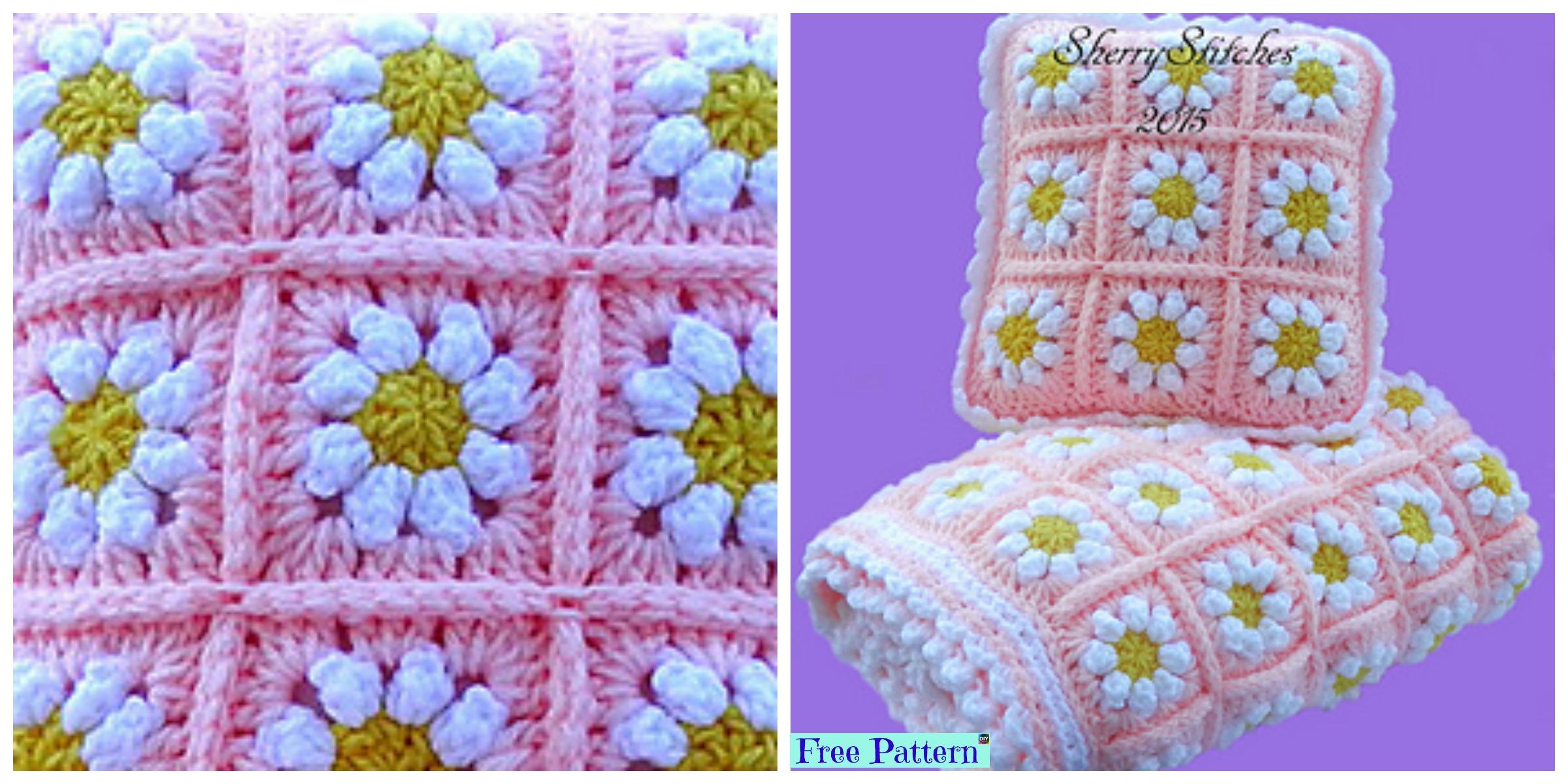 Crochet daisy flower blanket free pattern diy 4 ever izmirmasajfo
