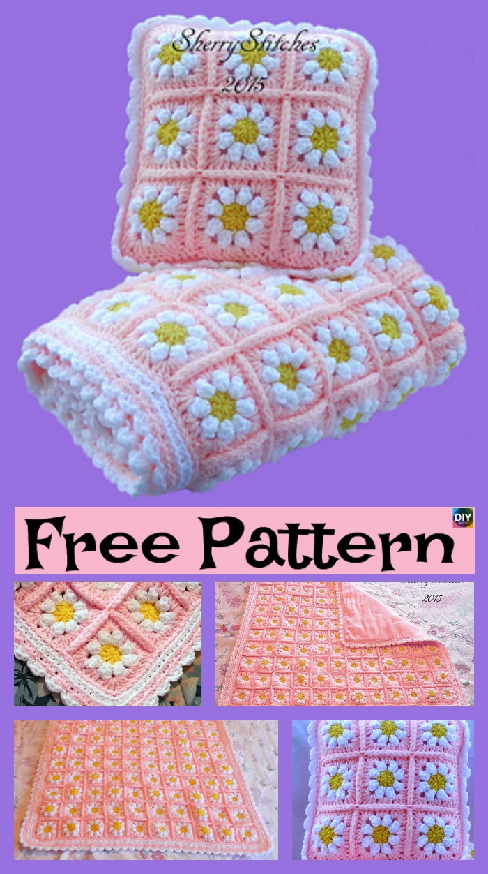 diy4ever- Crochet Daisy Flower Blanket - Free Pattern