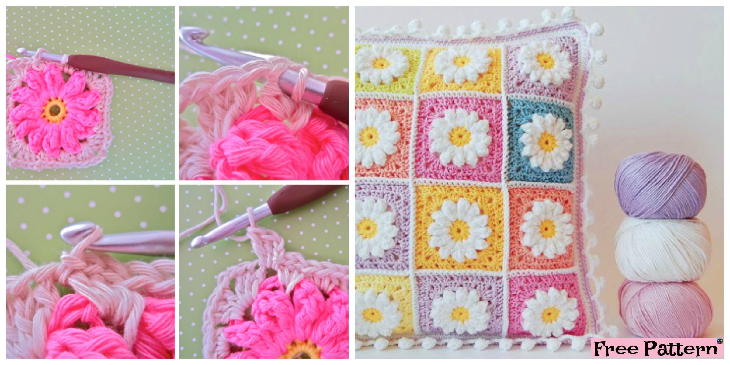 Crochet Daisy Granny Square - Free Pattern - DIY 4 EVER