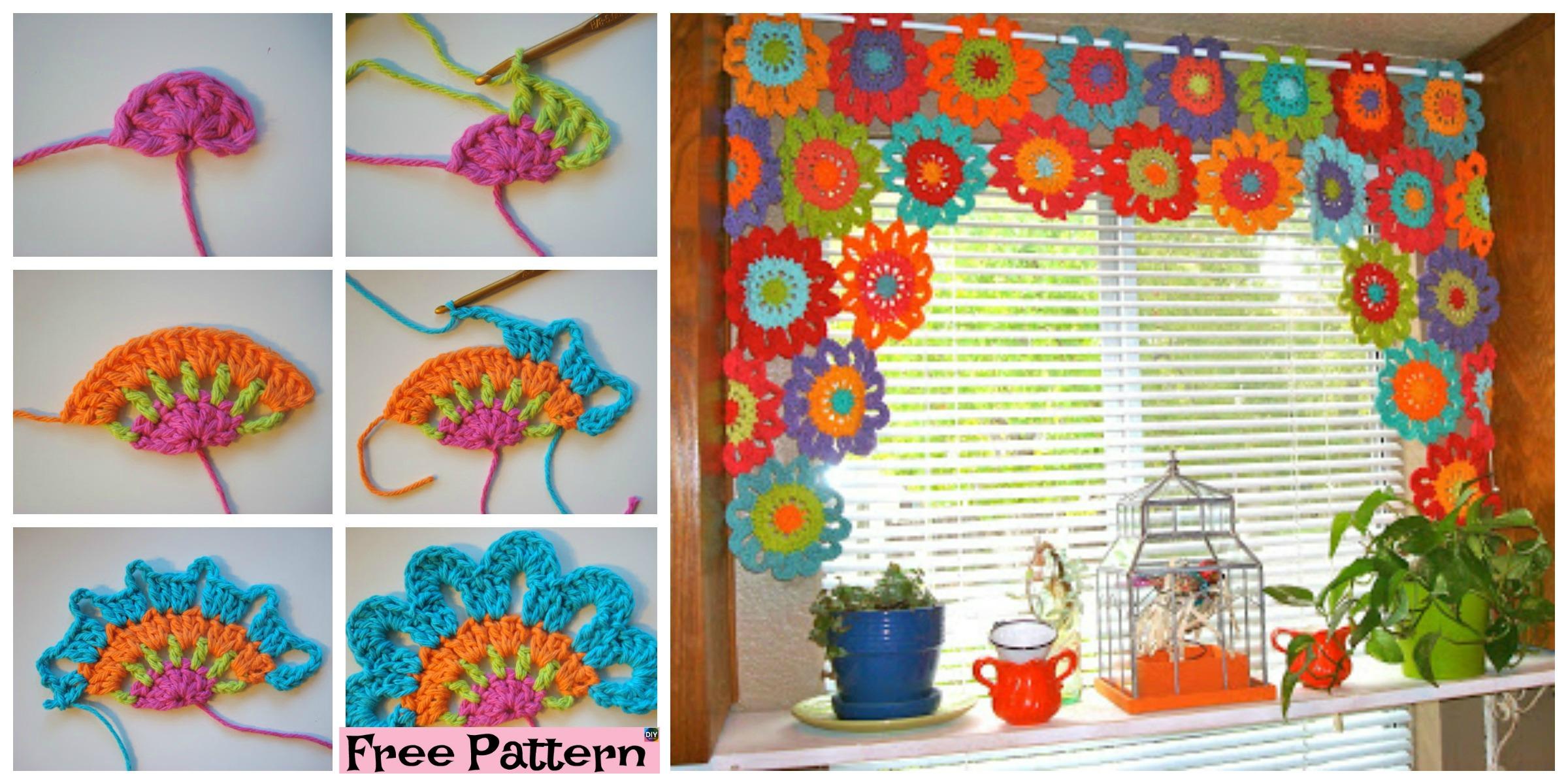 Beautiful Crochet Flower Power Valance - Free Pattern - DIY 4 EVER