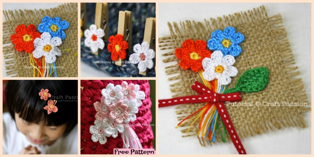 Crochet Mini Flower Decoration Free Patten Diy 4 Ever