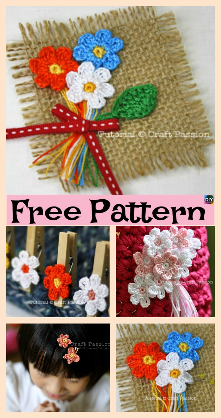 diy4ever- Crochet Mini Flower Decoration - Free Patten