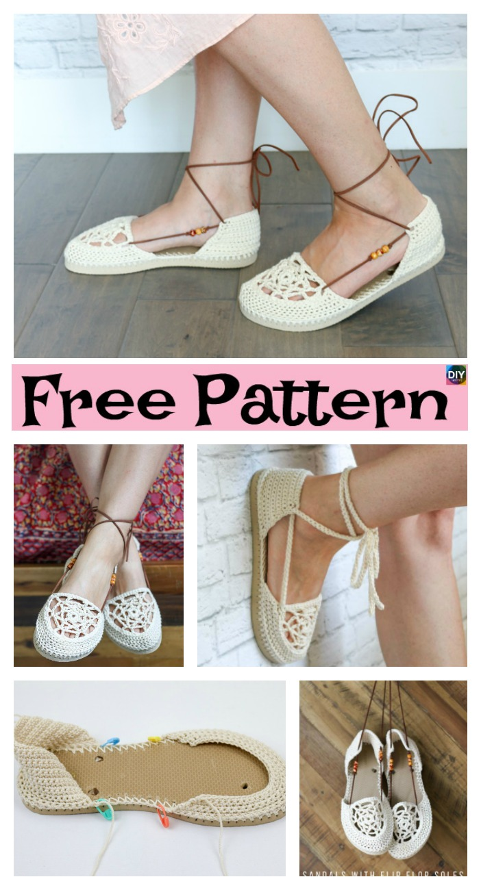 diy4ever-Crochet Slippers Using Flip Flop Soles - Free Patterns