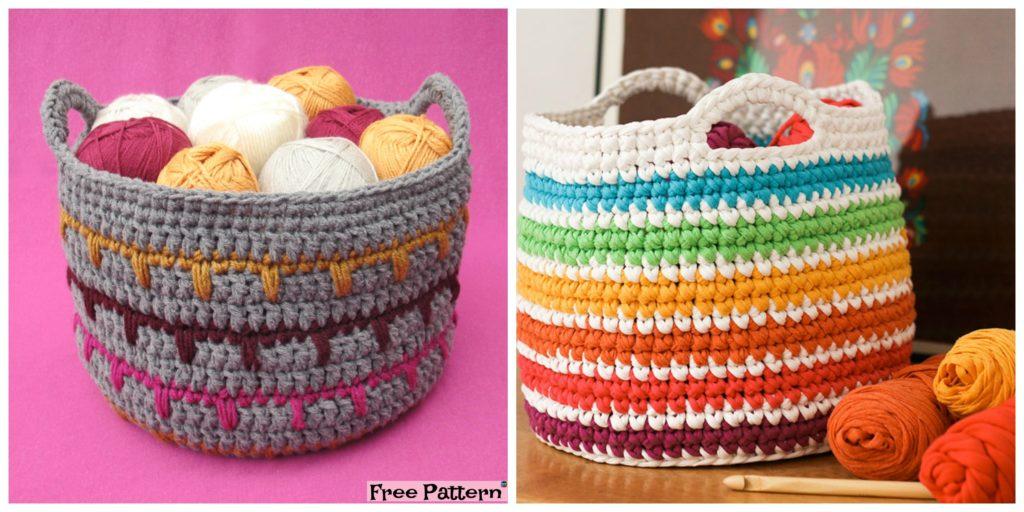 Crochet Spike Stitch Basket Free Pattern Diy 4 Ever