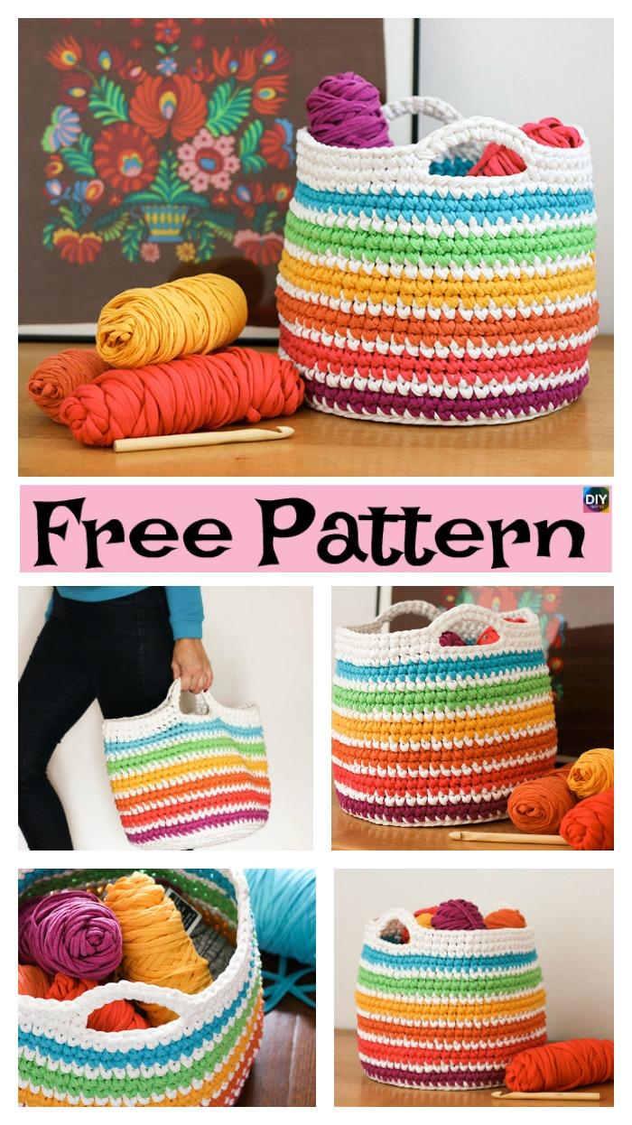diy4ever-Crochet Spike Stitch Basket - Free Pattern