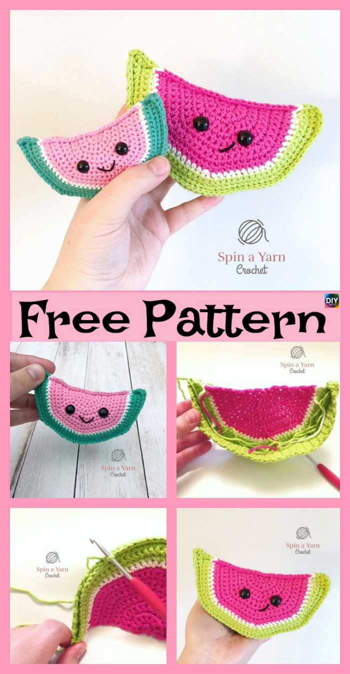 diy4ever- Crochet Watermelon Amigurumi - Free Patterns