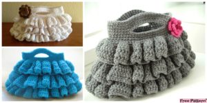 diy4ever- Cute Crochet Ruffled Bag - Free Pattern