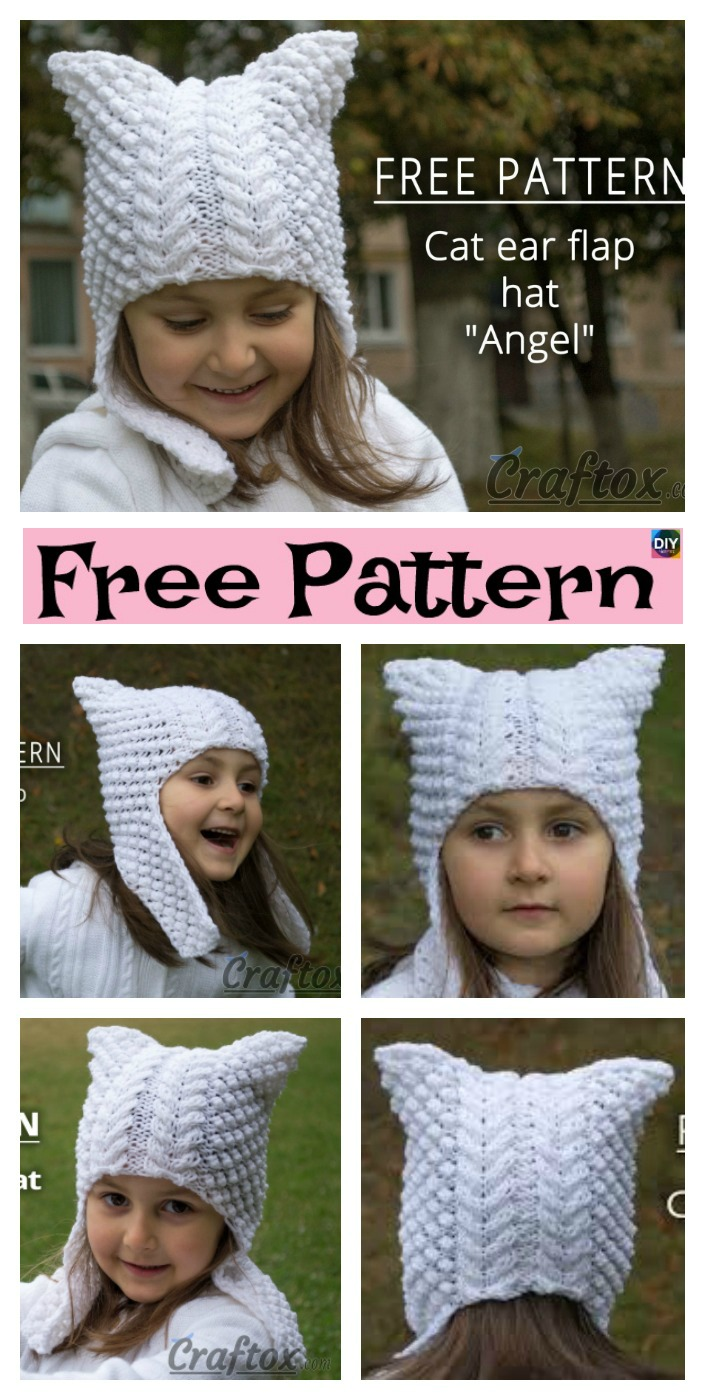 diy4ever-Cute Knitted Cat Ear Flap Hat