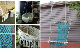 diy4ever-DIY Hanging Macrame Chair Tutorials