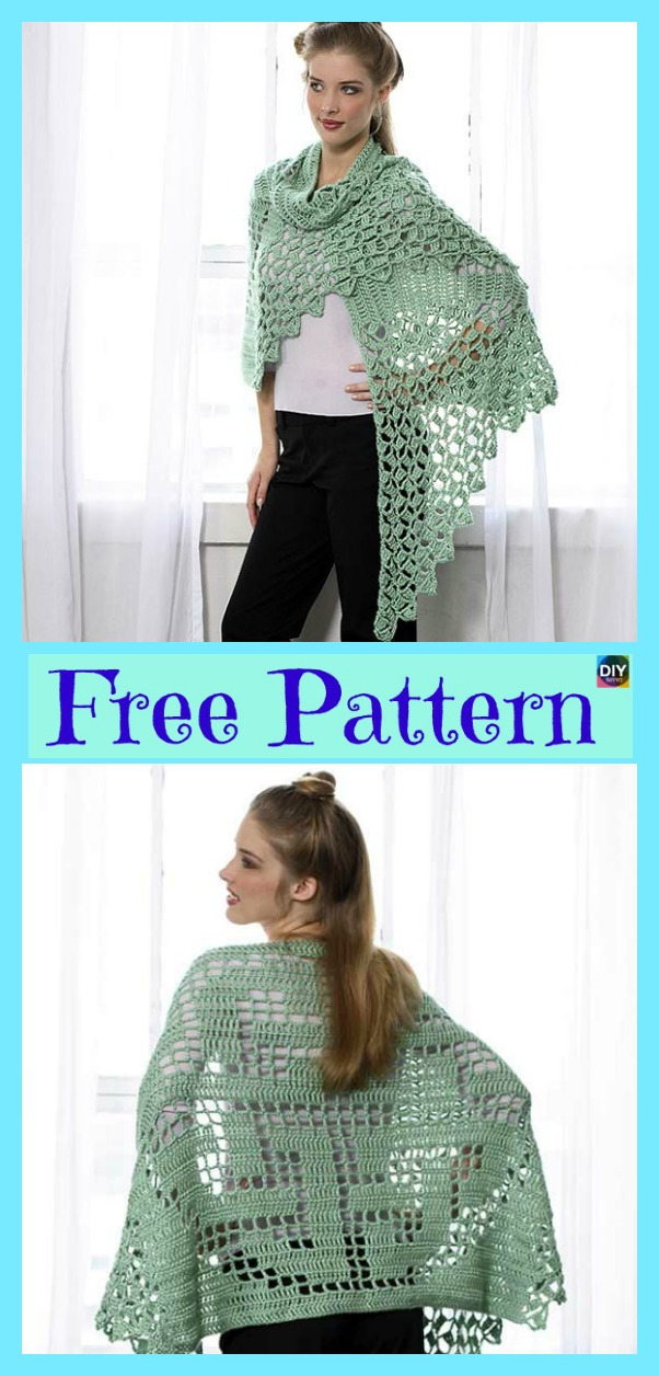 diy4ever- Elegant Crochet Summer Shawl - Free Pattern