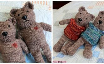diy4ever- One Piece Knitted Teddy Bear - Free Pattern