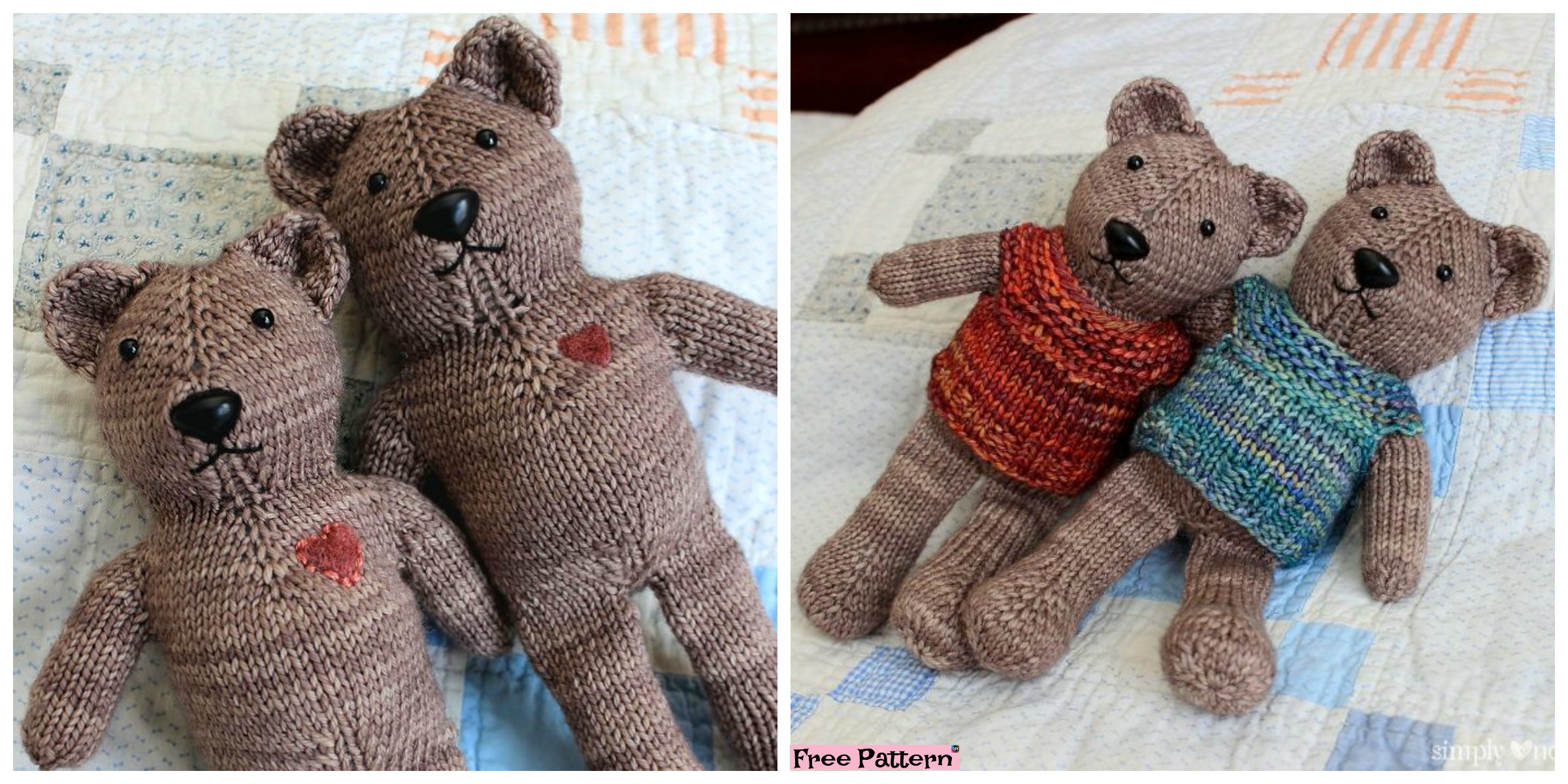One Piece Knitted Teddy Bear - Free Pattern - DIY 4 EVER