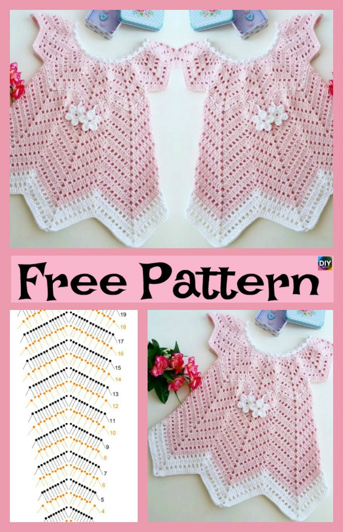 diy4ever-Pretty Crochet Baby Blossom Dress - Free Pattern