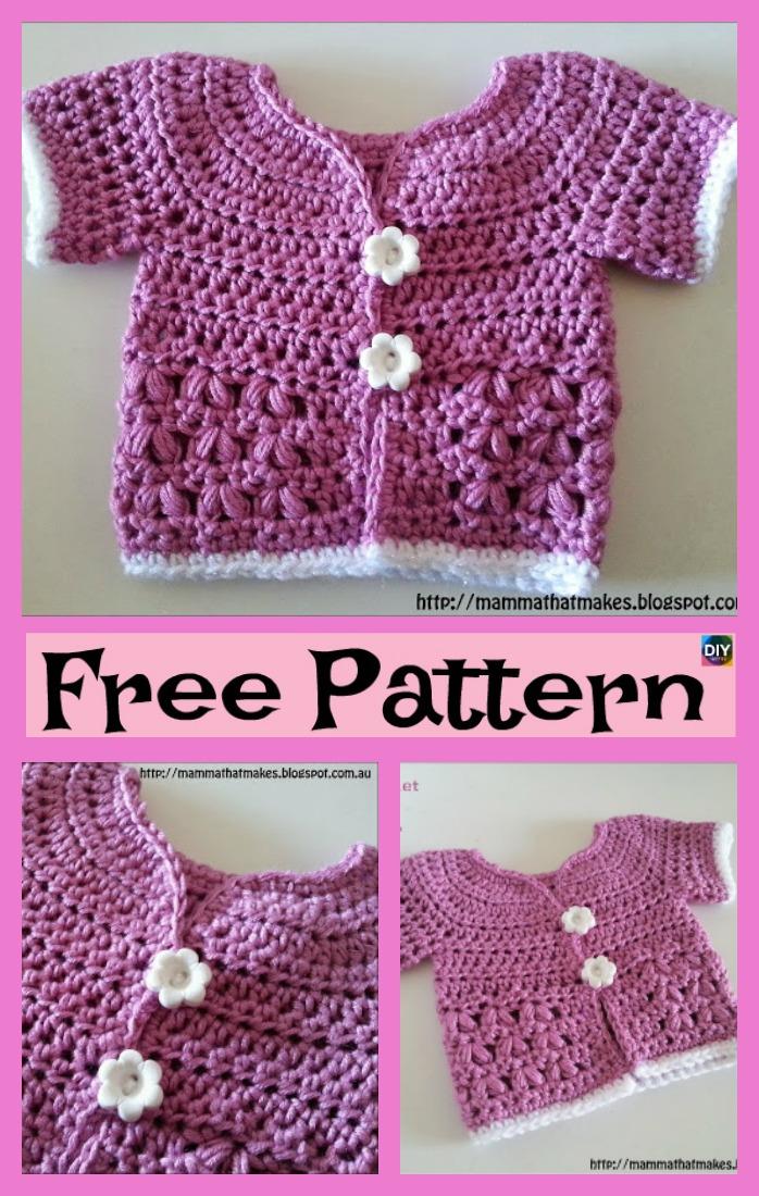 diy4ever-Pretty Crochet Kids Coat - Free Patterns