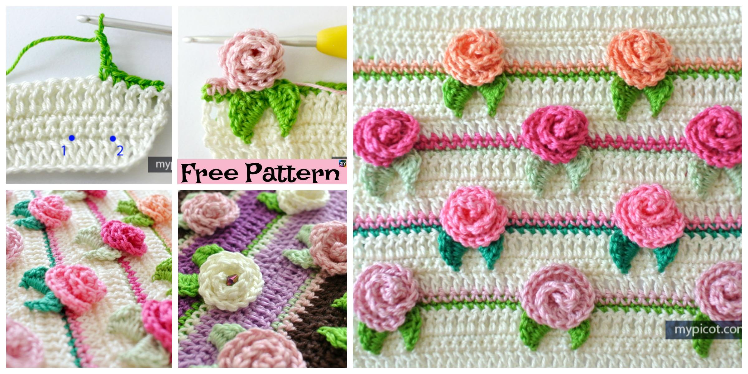 diy4ever-Pretty Crochet Rosebud Stitch - Free Pattern
