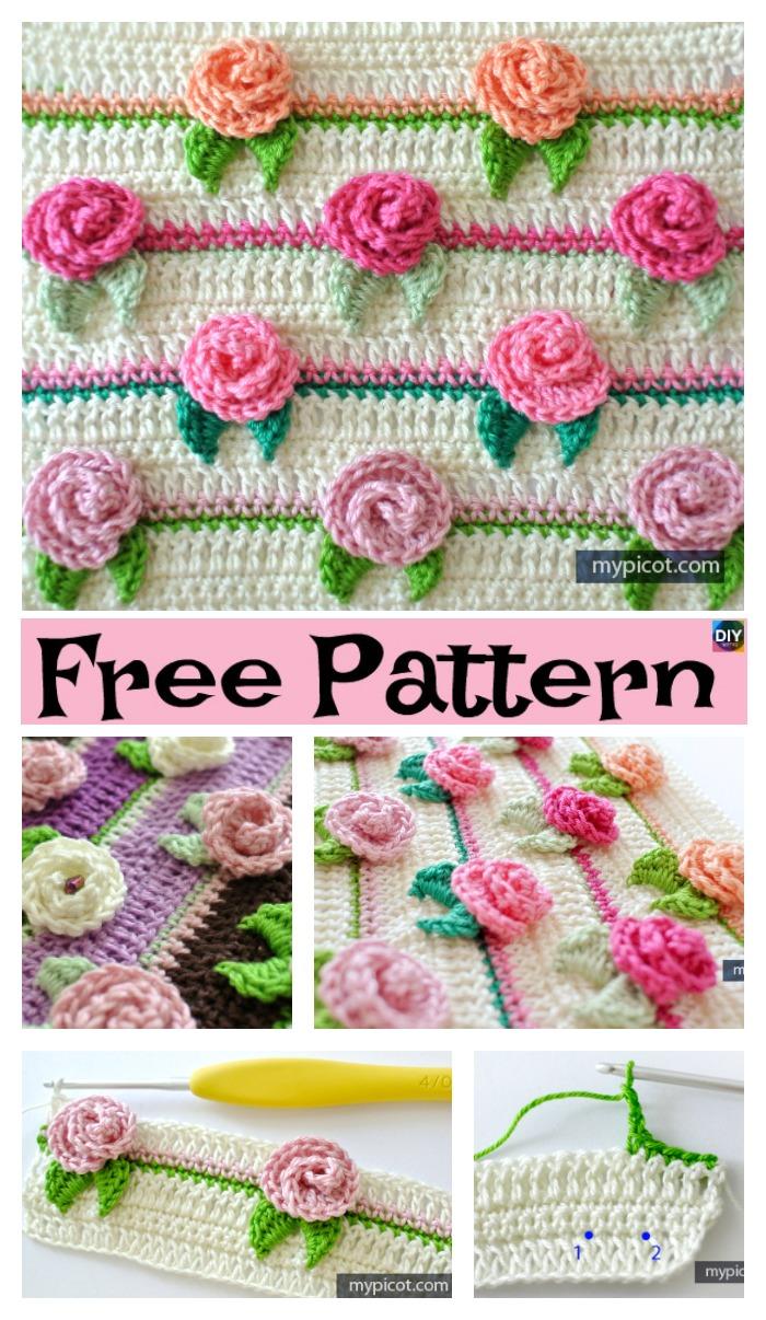 Pretty Crochet Rosebud Stitch Free Pattern Diy 4 Ever