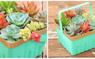 diy4ever- Simple DIY Basket Succulent Planter