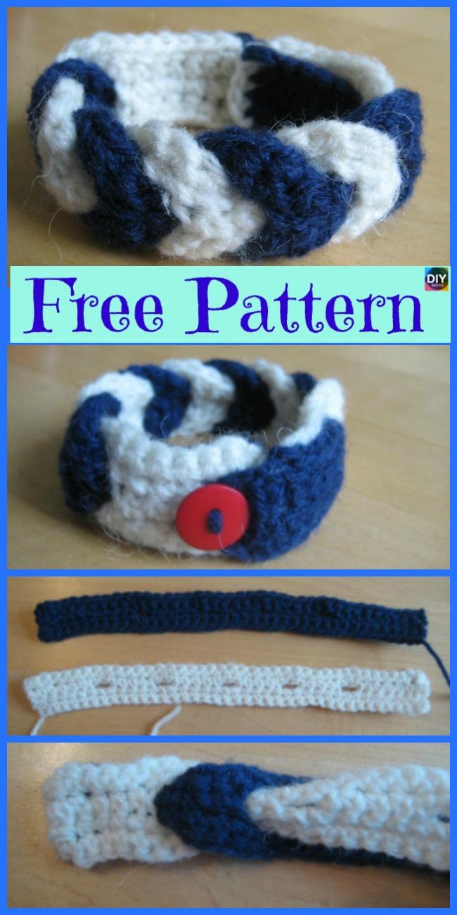 Crochet Chevron Stripe Bracelet - Free Pattern